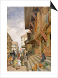 Street in Bombay, from 'India Ancient and Modern', 1867 (Colour Litho) Prints by William 'Crimea' Simpson