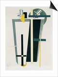 Abstract Composition in Grey, Yellow and Black Prints by El Lissitzky