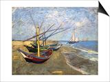 Fishing Boats on the Beach at Saintes-Maries-De-La-Mer Prints by Vincent van Gogh