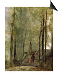 On the Terrace Steps, 1870 Prints by Jean-Baptiste-Camille Corot