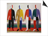 Sportsmen, or Suprematism in Sportsmen's Contours, 1928-32 Prints by Kasimir Malevich