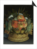 Reversible Anthropomorphic Portrait of a Man Composed of Fruit Posters af Giuseppe Arcimboldo