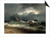 Fishermen Upon a Lee-Shore in Squally Weather Print by J. M. W. Turner