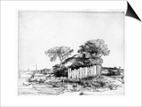 Cottage with a White Paling, 1648 (Etching) Posters by  Rembrandt van Rijn
