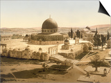 View of the Temple Mount with the Dome of the Rock and the El Aqsa Mosque, Jerusalem, C.1880-1900 Prints