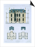 Design from 'Town and Country Houses Based on the Modern Houses of Paris', C.1864 (Colour Litho) Prints by  Leblanc