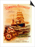 Hamburg - Australia', Poster Advertising the German Australian Steamship Company, 1889 Prints by German School