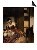 Girl Asleep at a Table, 1656-57 Prints by Jan Vermeer