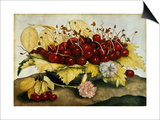 Cherries and Carnations Poster by Giovanna Garzoni