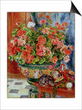 Geraniums and Cats, 1881 Prints by Pierre-Auguste Renoir