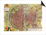 "Paris Map from ""Civitates Orbis Terrarrum"" by Georg Braun and Franz Hogenbergh, French, 1572-1617 Art by Georg Braun"