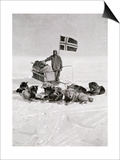 Captain Roald Amundsen at the South Pole, 1912, from 'The Year 1912', Published London, 1913 Prints
