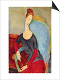 Mme Hebuterne in a Blue Chair, 1918 Posters by Amedeo Modigliani
