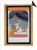 A Lady on a Swing, Kangra, Punjab Hills C.1790 (Opaque W/C on Paper) Prints by  Mughal