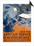 """Join the Army Air Service, Be an American Eagle!"", c.1917 Print by Charles Livingston Bull"