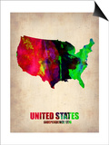 Usa Watercolor Map 2 Poster by  NaxArt