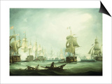 The Battle of Trafalgar, 1805 Poster by Thomas Buttersworth
