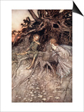 I Am That Merry Wanderer of the Night, Illustration from 'Midsummer Nights Dream' Posters by Arthur Rackham