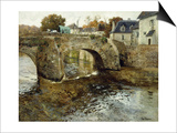 The Old Stone Bridge Print by Fritz Thaulow