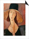 Portrait of a Woman (Jeanne Hébuterne) in Large Hat, c.1918 Prints by Amedeo Modigliani