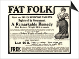 Advertisement for 'Fell's Reducing Tablets', 1910s Prints by  English School