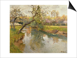 French River Landscape with a Flowering Tree Prints by Fritz Thaulow