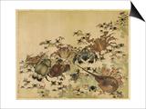Crustaceans, Edo Period C.1825 Print by Katsushika Hokusai