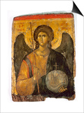 An Icon with the Image of the Archangel St Michael Holding a Staff and a Globe Surmounted by the Art