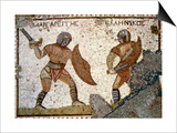 Mosaic from the 'House of the Gladiators' Poster