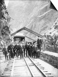 Hanging Bridge - President Theodore Roosevelt and Party in the Royal Gorge of the Arkansas River,… Print by George Lytle Beam