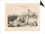 The Old and New London Bridges, 1830 Prints by Edward William Cooke