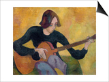 Nina Hamnett (1890-1956) with Guitar, c.1917/18 Prints by Roger Eliot Fry