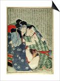 A 'Shunga' (Erotic Print), from 'Manpoku Wago-Jin': Seated Lovers, 1821 Kunstdruck von Katsushika Hokusai