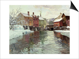 Snow-Covered Buildings by a River Posters by Fritz Thaulow