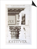 Entablature, Capital and Inscription from the Temple of Jupiter Tonans (The Thunderer) Print by Antoine Babuty Desgodets