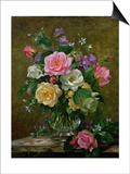 Roses in a Glass Vase Posters by Albert Williams