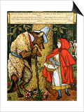 'Little Red Riding Hood', the Wolf Accosting Her in the Forest Posters by Walter Crane