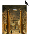 The Interior of the Pantheon, Rome, Looking North from the Main Altar to the Entrance, 1732 Poster par Giovanni Paolo Pannini