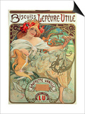 Poster Advertising 'Lefevre-Utile' Biscuits, 1896 Print by Alphonse Mucha