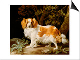 A Liver and White King Charles Spaniel in a Wooded Landscape, 1776 Poster by George Stubbs