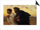 The Disciples Peter and John Running to Sepulchre on the Morning of the Resurrection, circa 1898 Posters by Eugene Burnand