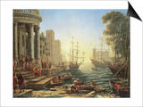Seaport with the Embarkation of St. Ursula Prints by Claude Lorrain