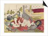 A 'Shunga'(Erotic) Print: a Woman and Two Men Posters by Kitao Masanobu