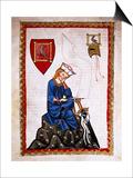 Walther Von Der Vogelweide (1170-1230). Codex Manesse (Ca.1300) Prints