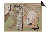 A 'Shunga' (Erotic) Print: Lovers Being Observed by a Maid from Behind a Screen Print by Isoda Koryusai