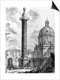 View of Trajan's Column and the Church of Ss Nome Di Maria, from the 'Views of Rome' Series, C.1760 Prints by Giovanni Battista Piranesi