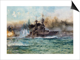 H.M.S Vanguard at the Battle of Jutland, 1924 Posters by Charles Edward Dixon