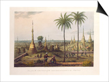 Scene from the Upper Terrace of the Great Pagoda at Rangoon, to the South East, Engraved by H. Print by Joseph Moore