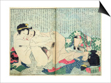 A 'Shunga' (Erotic Print), from 'Manpoku Wago-Jin': Lovers and a Wine Jar, 1821 Kunstdrucke von Katsushika Hokusai