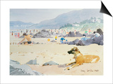 Dog on the Beach, Woolacombe, 1987 Prints by Lucy Willis